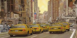 Painting - taxi a New York by Guido Borelli