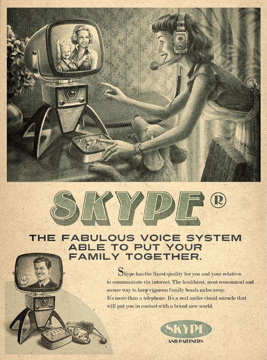 Publicités vintage pour Twitter, Facebook, Youtube et Skype skype retro vintage pub 02 design