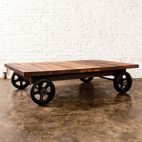 District 8 Rolling Cart Iron Coffee Table Reclaimed Hardwood Modern ($1,475) via Polyvore