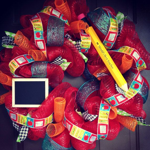 Hey, I found this really awesome Etsy listing at https://www.etsy.com/listing/233745884/deco-mesh-wreath-teacher-gift-worlds