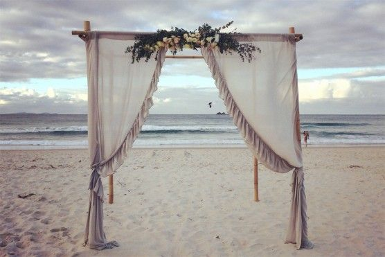 Byron Bay Beach Wedding Bamboo Arbour with Draping by Lovestruck Weddings