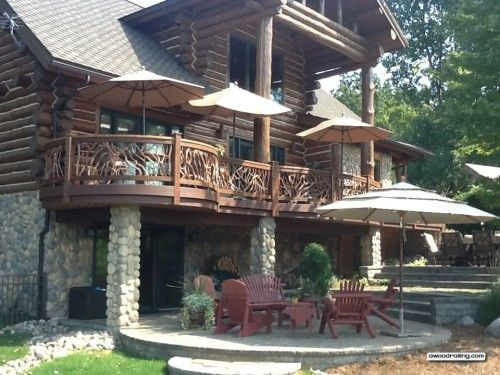 This Log Home Is Stunning And Mountain Laurel Handrails Is Icing On The  Cake! Curved Deck Railing Sections Were Custom Built To Match A Circular  Deck.