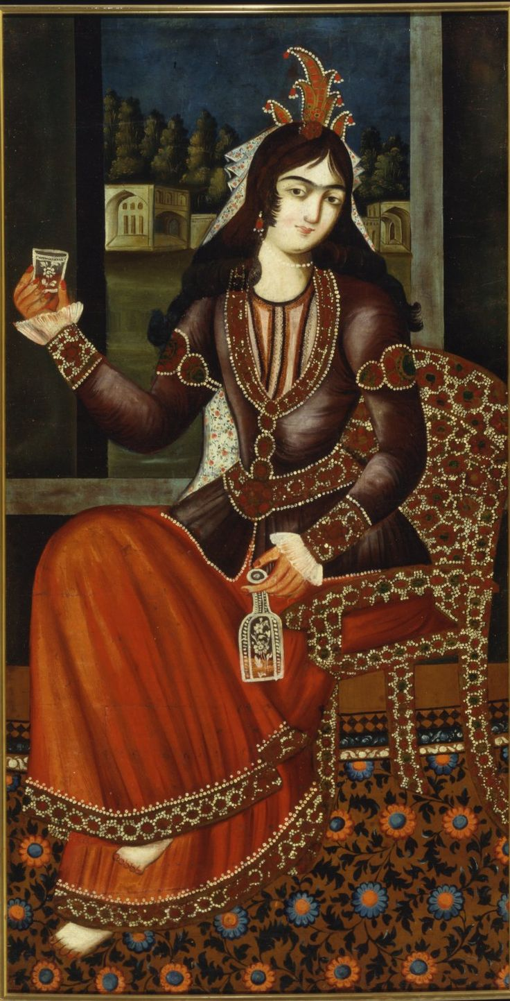 Painting of a Seated Woman Medium: Oil on cotton Dates: late 18th century Dynasty: Qajar