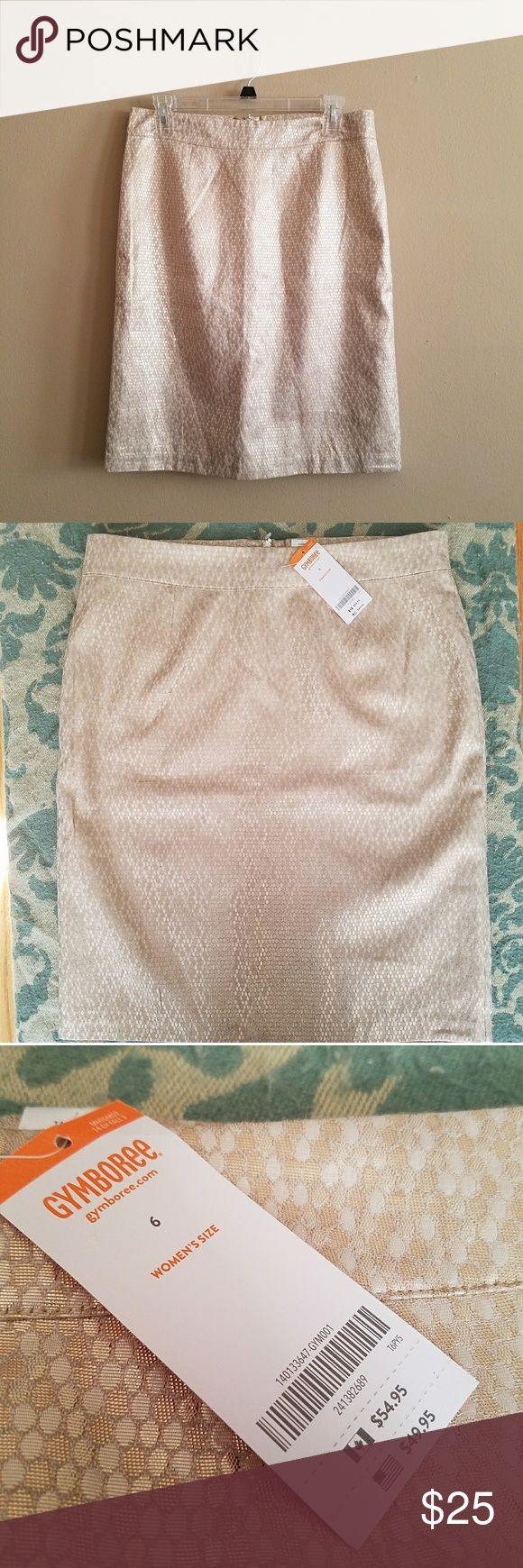 "Gymboree Women's Gold Pencil Skirt  Never worn, NWT. Fully lined, lightweight material with not much stretch. Zipper in the back and darting on front and back  56% polyester 30% rayon 14% metallic  Measurements, taken laid flat  Waist 15.75"" Hip 19.5"" Length 22.25"" Gymboree Skirts Pencil"