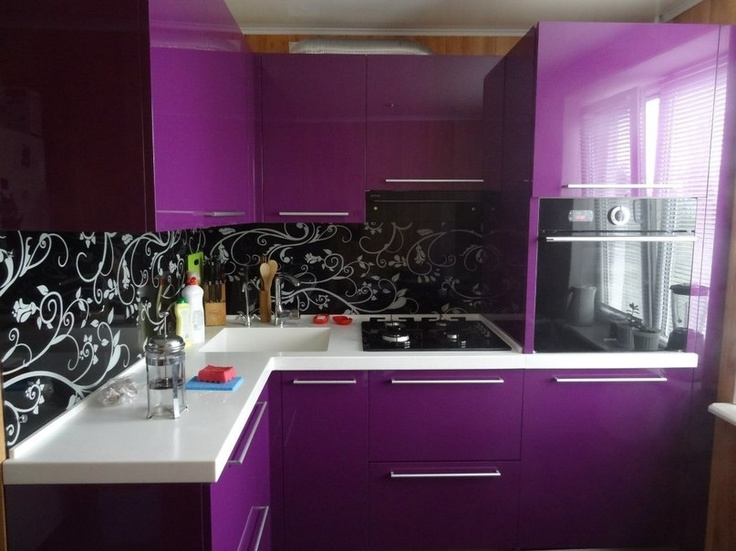 Reverse It. Black Cabinets With Purple Walls And White