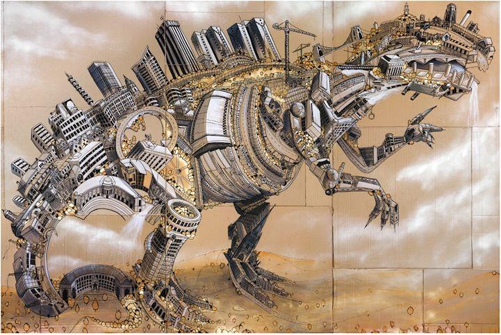 Bristol-based Illustrator Andy Council creates detailed urban dinosaurs