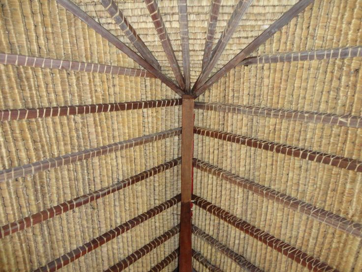 A beautiful hand thatched roof of a wooden stilt house from the island of Timor
