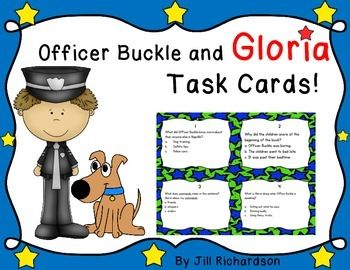 This task card activity is a great Back to School Literacy Center to use after the children have read Officer Buckle and Gloria by Peggy Rathmann. Great to use for establishing rules.The children can record their responses on the printable or in a reading response notebook.Included:16 Comprehension Task Cards1 Answer Sheet1 Teacher's edition answer