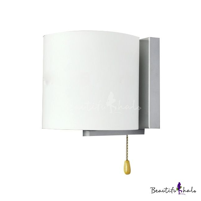 Single Light White Cylinder Shade White-colored Wall Light