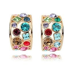 Gold-Plated Fashion Multicolor Crystal Earrings Contempo Culture