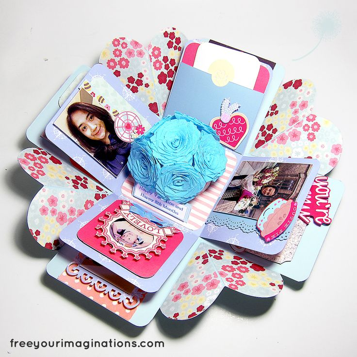 This is the Inside View of VALENTINE GIFT for girlfriend with Light Blue Design Theme Featuring Blue Rose Bouquet in the middle
