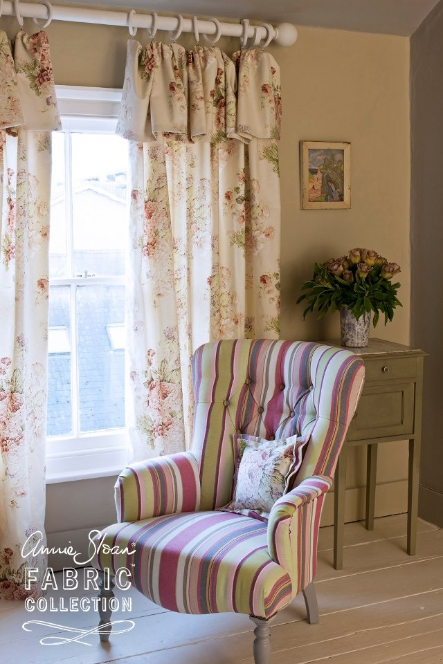 The Beautiful Print Of Faded Roses Looks Perfect With Old Whites And Tickings These Curtains