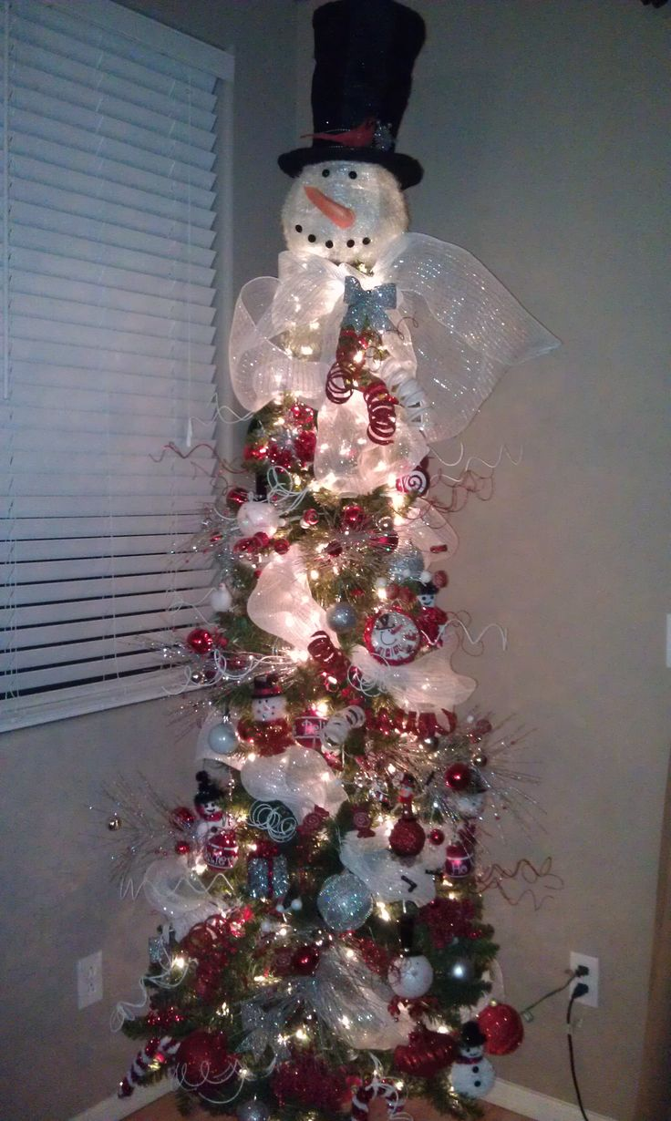 How to make a snowman christmas tree topper - Snowman Christmas Tree Love It Cracker Barrel Inspired