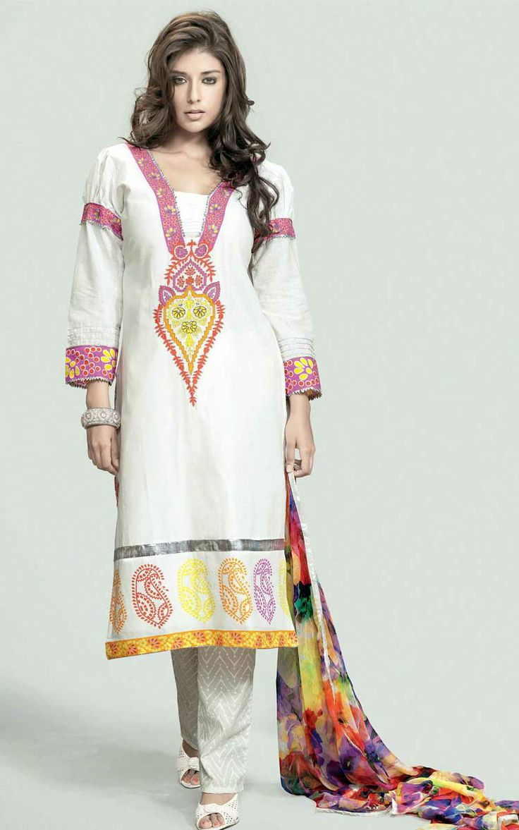 OFF WHITE COTTON PRINTED SALWAR KAMEEZ - WIS 139