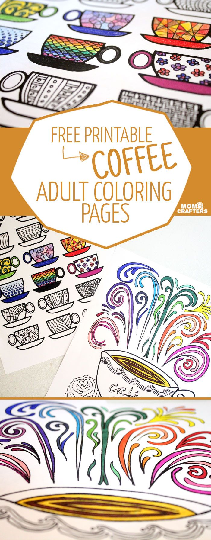 FREE Printable Coffee Adult Coloring Pages