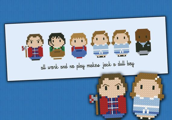 This is a parody, an inspirational cross stitch pattern of the movie The Shining, featuring: Jack, Wendy and Danny Torrance, the creepy twins and