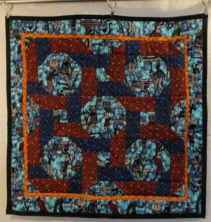Quilt Wall Hanging Afro Carribean Men Women Table Topper