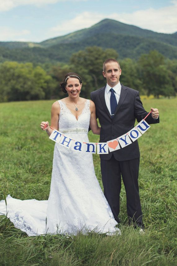 Thank You Sign / Rustic Wedding Banner / Photo Prop / Wedding Sign Wedding Decoration Coral and Navy Blue