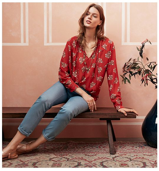 Red floral blouse, medium jean, nude sandal.  LOFT Early Spring 2016