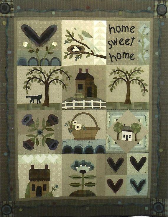 Primitive Folk Art Wool Applique Pattern:  HEART and HOME QUILT