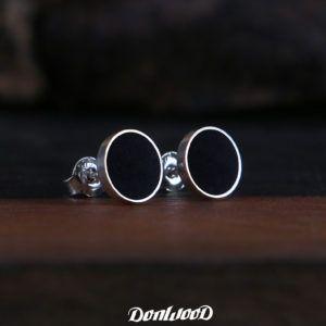 Earrings from silver and ebony.