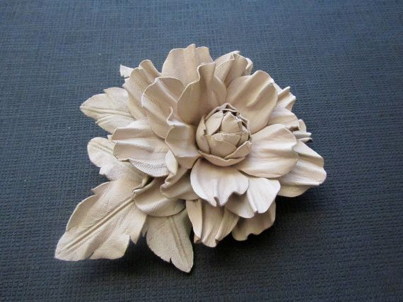 Handmade leather flower brooch in white off, Leather flower pin, Handmade leather flower, Bridal flower, Mothers day gift, Mother of  bride JewelryWithTaste