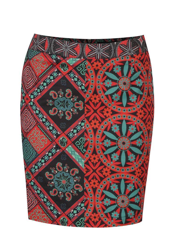 Černo-červená vzorovaná sukně Desigual Henri