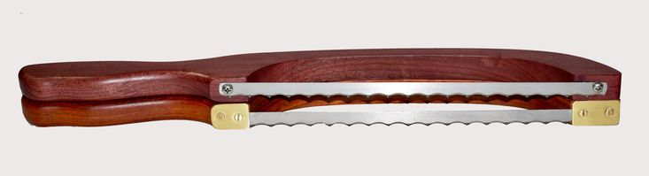 Price $38 The Bow Knife is traditionally designed for slicing bread and pastries, but we fit ours with a premium commercial scallop edge blade with hardened teeth there by making it equally suited for slicing fruits and vegetables. My knives they come in three stunning wood varieties: African Padauk, Purple Heart & Lacewood. #knife #kifecommunity #wine #winetime #handcrafted #cooking #handmade #woodworking #foodie #partydecor #gifts #giftguide #giftsforher #amazing #giftideas #cook #chef…