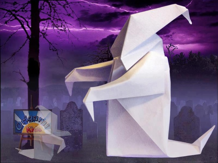 Origami Ghost by Anibal Voyer  These ghosts will make great Halloween decorations! It will look spooky on your walls and windows   They is very easy and fun to fold.  Designer: Anibal Voyer  Folder and Photo: @Origami_Kids  Complexity: Easy. Time to fold 15 min. 15 steps. Folded from a one classic Single Uncut square origami white paper, about 15 cm x 15 cm.  Folding Instruction: http://origami-blog.origami-kids.com/origami-ghost-by-anibal-voyer.htm