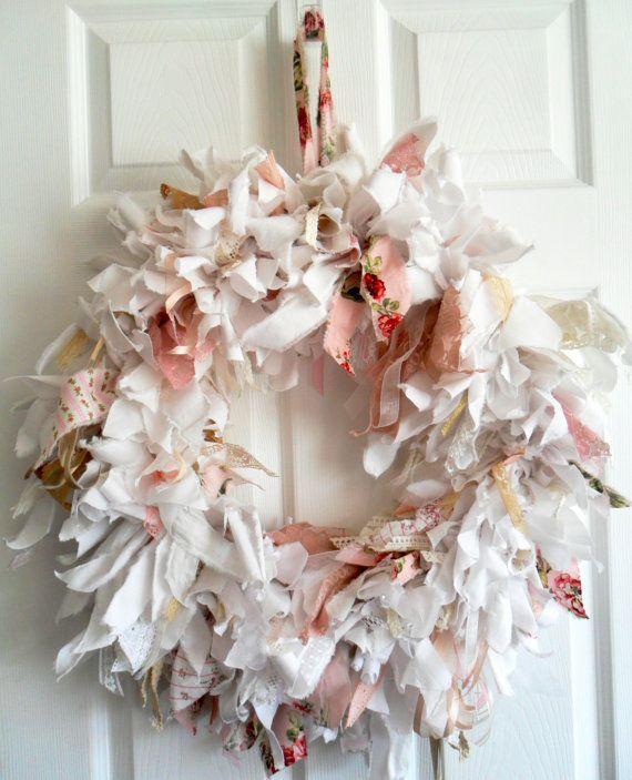 Beautiful wreath.. Etsy listing at https://www.etsy.com/listing/163468464/large-fabric-wreath-rag-wreath-shabby