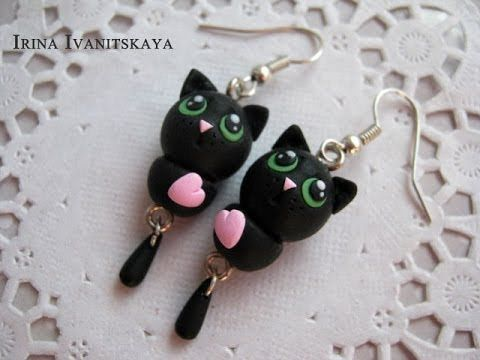 """Black Cat  Polymer Clay Tutorial. Серьги """"Черный Кот"""" из полимерной глин..."""