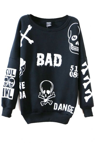 Skull Print Round Neck Long Sleeve Sweatshirt