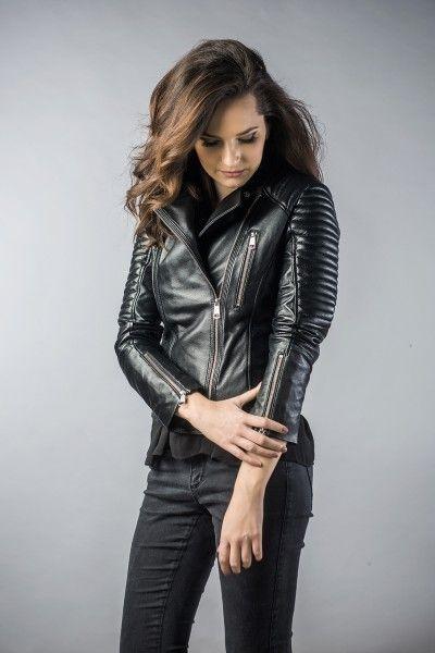 Leather jachet for women black 2027 (2)