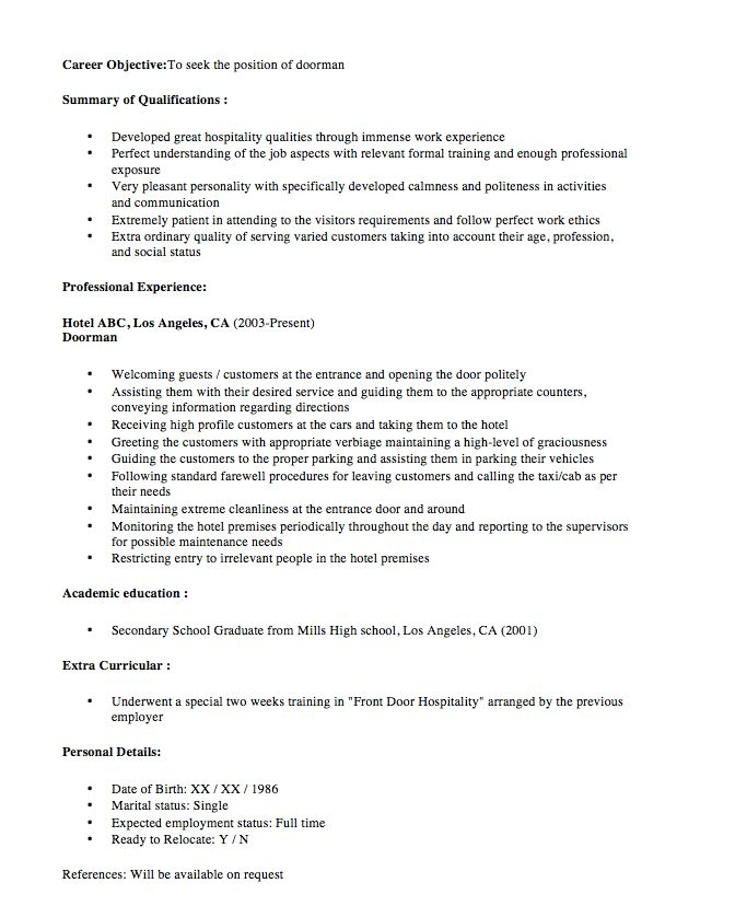 doorman resume sample New Doorman Resume Sample 2016 - http - trade specialist sample resume