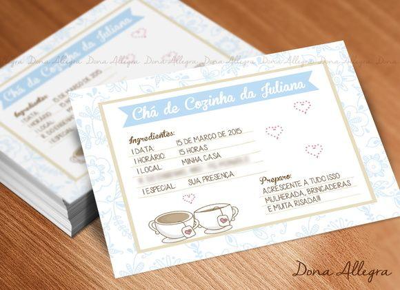 Convite Chá de Cozinha - Receita Floral