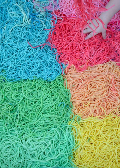 Rainbow Spaghetti Sensory Play for Babies and Toddlers | Meri Cherry Blog