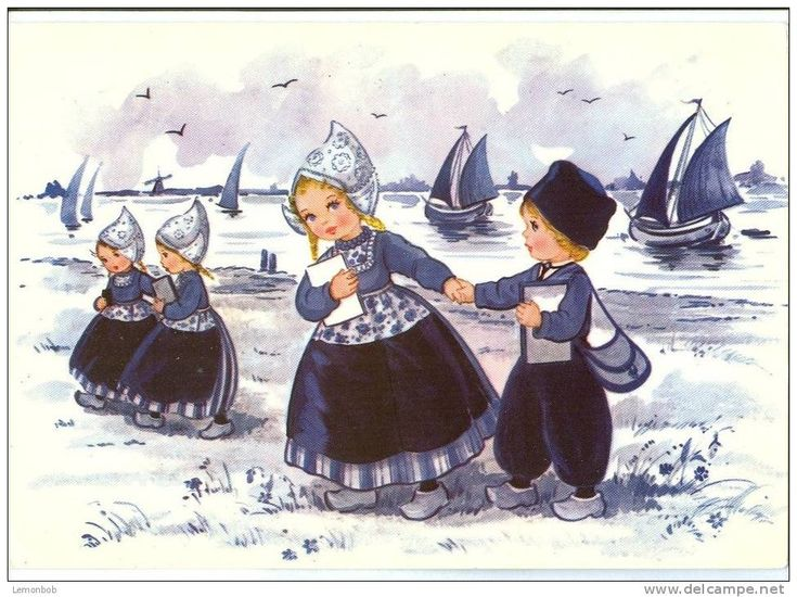 Blue and white Painting of Dutch children in traditional clothes