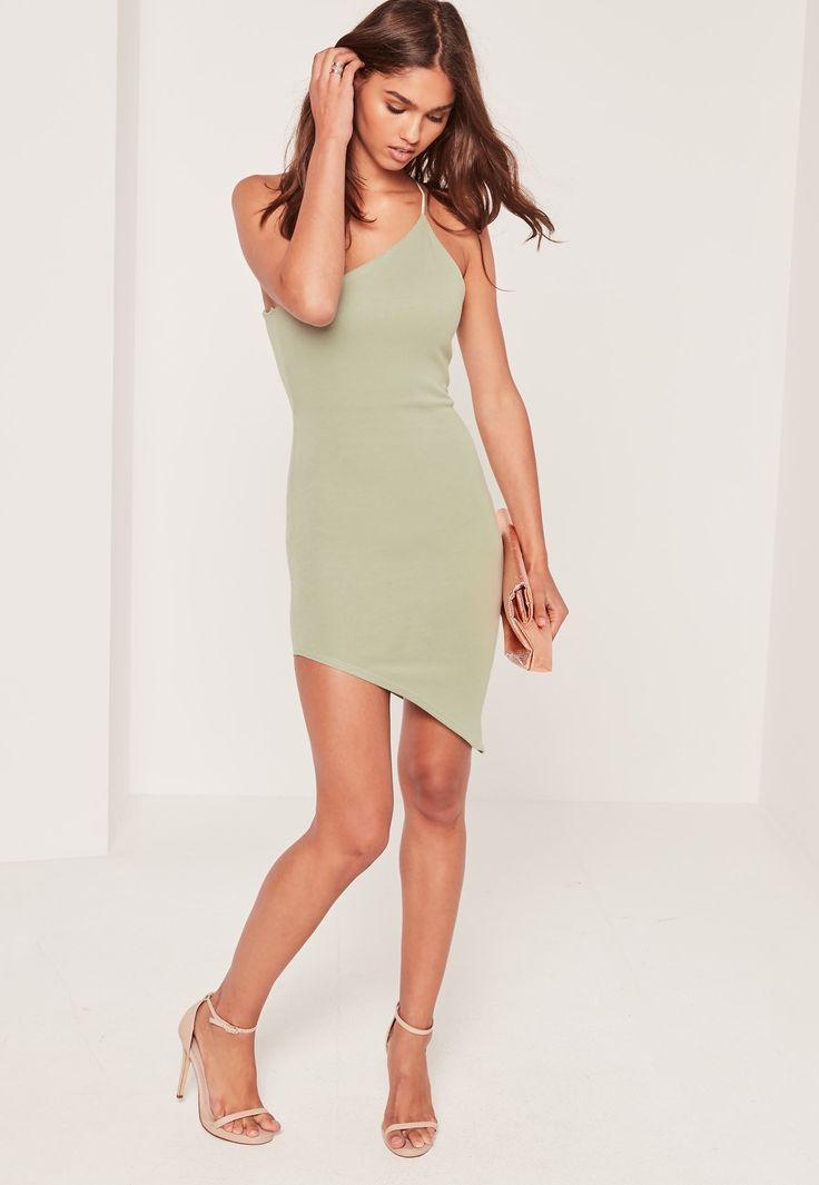 Missguided - Asymmetric One Shoulder Bodycon Dress Green