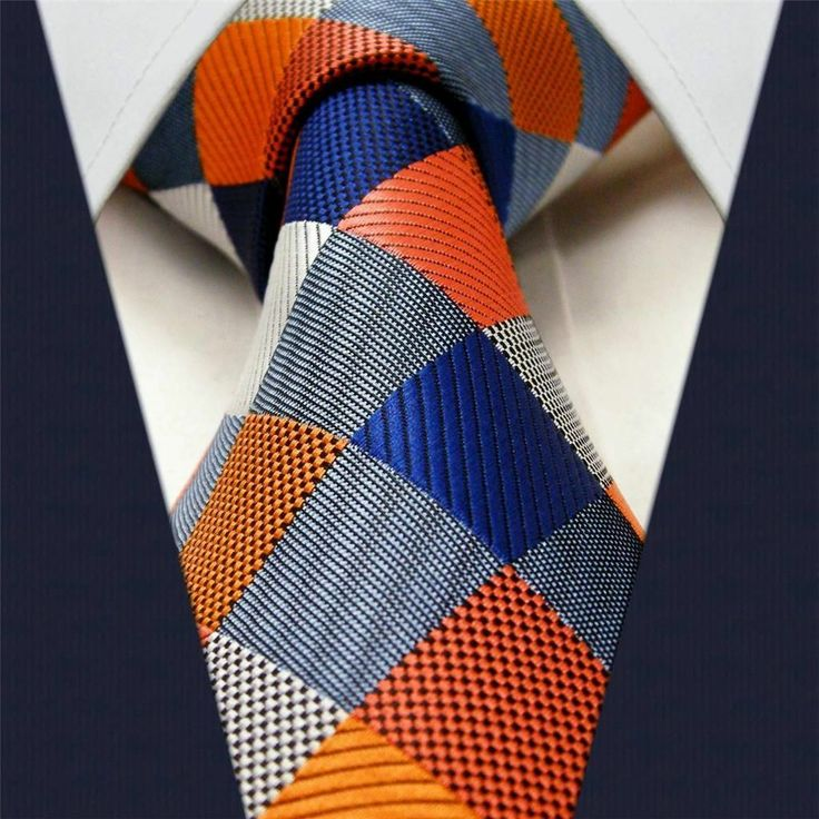 Orange / Blue Check - Neckties Only Collection - NTO-E17 >>>$14.95 w/ Free shipping @ NecktiesOnly.com