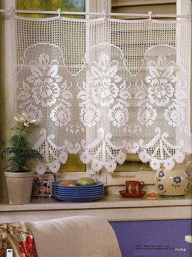 Romantic crochet curtain, filet work ♥LCC-MRS♥ with diagram