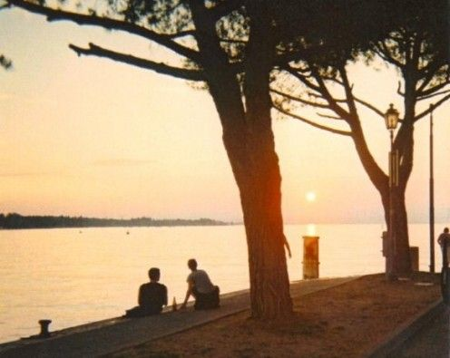 Summer sunset at Peschiera del Garda in Italy