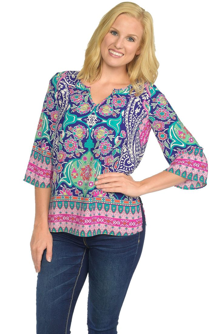 Style : Three-Quarter Sleeve Floral Paisley Border Print Shift Top-ROYAL #WholesaleApparel #WomensFashion #WomensApparel #WholesaleClothinginLosAngeles #WholesaleFashion #FashionBoutique #WholesaleFashionTOPS #WholesaleFashionBoutique www.PinkOwlApparel.com
