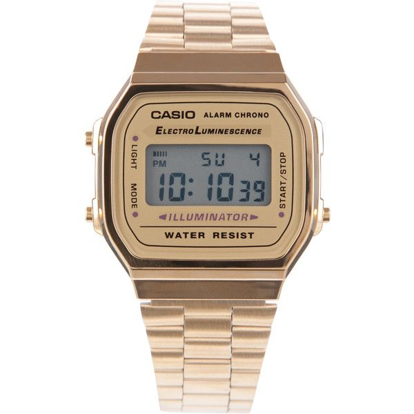 Casio Vintage Gold Digital Watch (1 655 UAH) ❤ liked on Polyvore featuring jewelry, watches, accessories, bracelets, gold, unisex, gold-tone watches, casio watches, gold watches and unisex watches