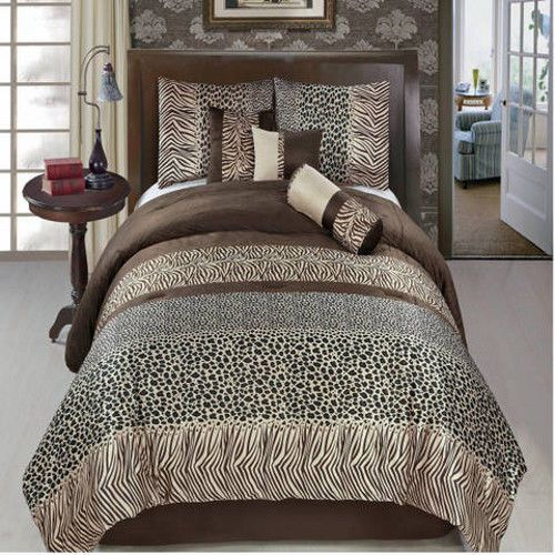 11 Piece Luxury Comforter Bedding Set Safari Brown Bed in a Bag with Sheet Set #RoyalTradition #Modern