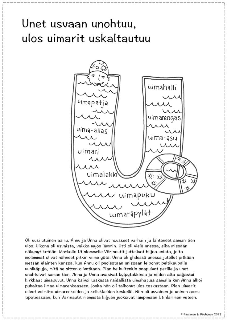 U-kirjain tarina ja värityskuva