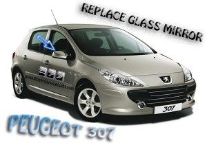 Replace mirror glass Peugeot 307