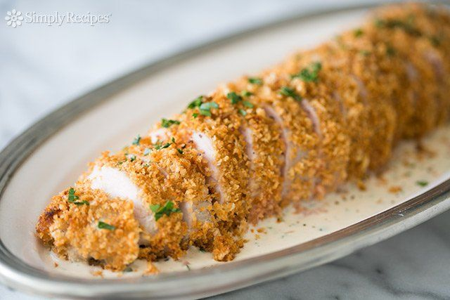 Panko Crusted Pork Tenderloin with Dijon Cream Sauce ~ Pork tenderloin, marinated in buttermilk, breaded with panko and baked. Served with Dijon mustard cream sauce. ~ SimplyRecipes.com