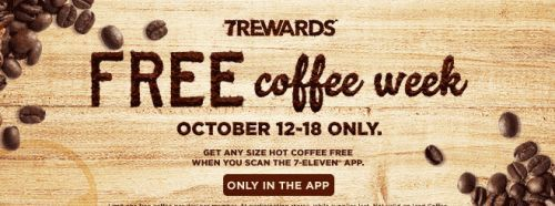 7-Eleven Free Coffee Week from October 12 - 18 with the 7Rewards App