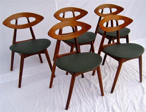 Ejvind A Johansson Danish Teak Dining Eye Chairs Mid