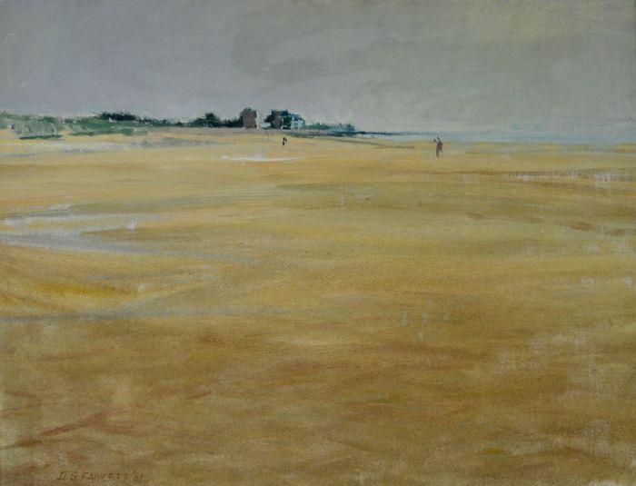 """David George Fawcett. A.T.D. F.R.S.A. (1935-1973) - Normandië Beach scène met cijfers.  Ik ben het aanbieden van een prachtig midden van de 20e eeuw olieverf op doek van een Normandië strand scène met cijfers door beursgenoteerde kunstenaar David George Fawcett ATD SPIONNE 1935-1973. Op verso staat geschreven """"To Philip van David juli 1961 dus misschien herinner je je anderen die in het circus lijden"""".Het canvas meet 64 x 51 cm.Het schilderij is in goede orde. Bekijk alle schilderijen voor…"""